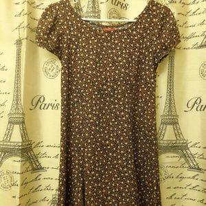 Esprit Vintage Brown Floral Print Baby Doll Dress